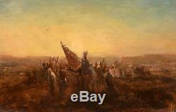 ETIENNE BILLET. Caravane dans le désert HUILE S/PANNEAU. XIXe