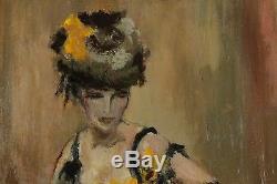 E. Delpierre, Elégante, Jeune femme en pose, signé à identifier