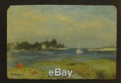 E. LANDRU Magnifique Peinture Impressionniste Paysage Huile sur panneau 1949