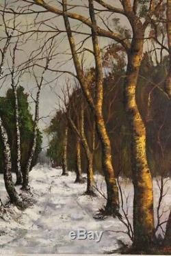 École Franc Comtoise du 20eme siècle huile sur toile figurant un bois enneigé