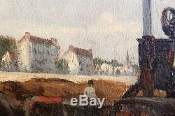 Ecole Française, 1900, Paris, Bateaux, tableau, peinture, Paysage, péniche