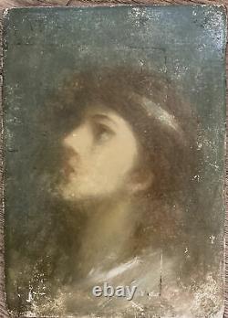Ecole Française 19eme Siècle Portrait Vaporeux