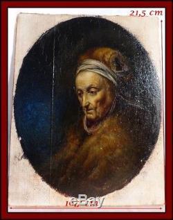 École Hollandaise XIXe Huile Sur Bois Portrait d'Une Femme gée Gérard Dou 17e