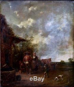 Ecole Hollandaise XVIIIème, Huile sur Panneau, Scéne Paysanne