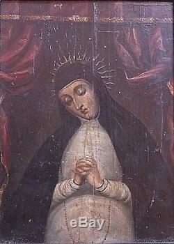 Ecole Italienne 17°/ Portrait Femme Religieuse / Huile Sur Bois