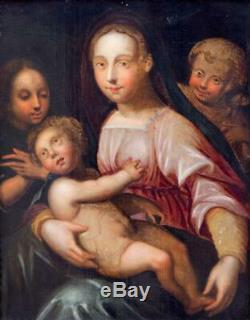 École Italienne Du XVIe Siècle. Vierge à l'Enfant Avec Ange. Panneau