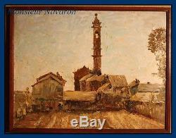 Ecole Italienne vers 1913 Village et Clocher d'église en Campanie huile sur bois