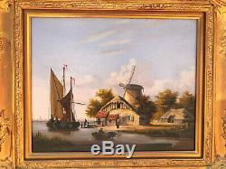 Ecole anglaise XIXe Belle paire de marine très finement peinte Cadres doré
