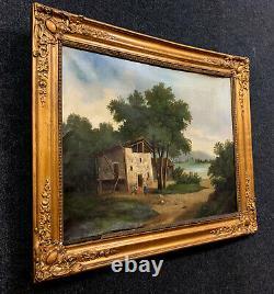 École de Barbizon vers 1850 Huile sur toile la masure dans un sous bois animé