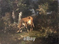 Ecole de barbizon, fin XIXe, Vache dans un sous-bois, huile sur toile, tableau