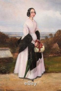 Ecole française 1841, Portrait de femme, Tableau, Peinture, France, Art