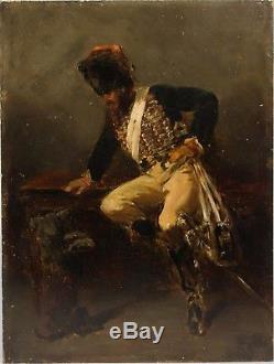 Ecole française du XIXe Officier de la garde impériale jouant avec un chien