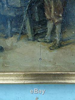 Ecole française ou hollandaise XIXe s. Homme et forgeron Huile sur panneau