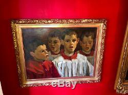 Ecole italienne du XIXe siècle Les petits chanteurs Cadre en bois doré