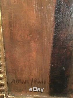 Edmond Aman-jean Interieur De Palais. Tableau ancien Symboliste