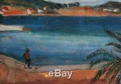 Edmond CERIA 1884-1955 Provence Saint Jean Cap Ferrat Marine Tableau ancien 1910