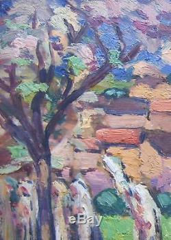 Edmond Ceria 1884-1955 Belle Huile sur bois Provence Double face Tableau moderne