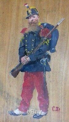 Edouard DETAILLE (1848-1912) SOLDAT, FANTASSIN ca 1870 Huile sur bois encadrée