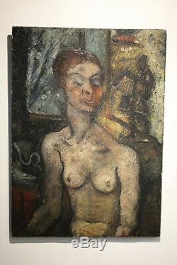 Edouard Goerg huile sur bois L'accordéoniste