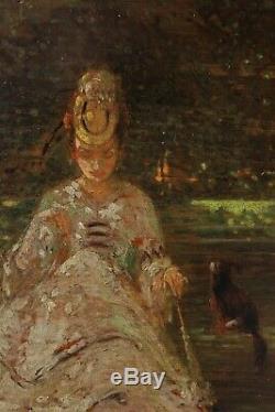 Elégante au chien début XXè signé, impressionnisme art nouveau deco
