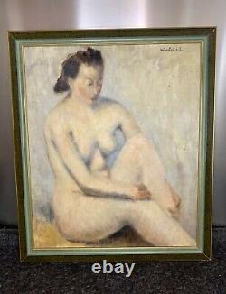 Élégante huile sur toile représentant une femme nue, signée Nicolaï. E. L