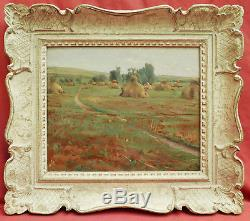 Émile BASTIEN-LEPAGE tableau huile paysage chemin meules foin campagne Jules