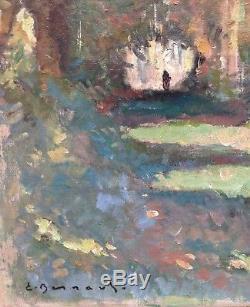 Émile Bernard Tableau Huile Sur Toile Paysage Sous Bois Animé Qualité Musée +++