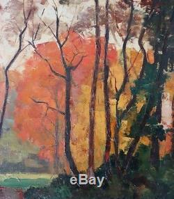 Emile Lecomte paysage de sous bois et clairière