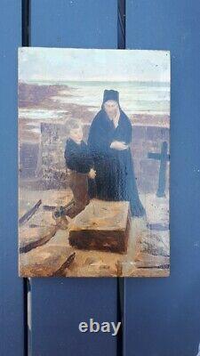Emile Renouf La veuve de l'ïle de Sein huile sur panneau Finistère Bretagne