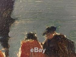 Emile SIMON HSP Huile sur panneau Scène de pêche en Bretagne au crépuscule