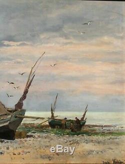 Emile VERNIER, tableau, bateau, mer, paysage, marine, plage, pêche, Bretagne
