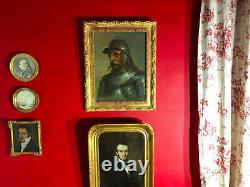 Epoque XIXe / Beau portrait de chevalier avec son cadre doré / Signé Kaniewski