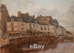 Ernest Germain VAUTHRIN tableau vue port Le Croisic Bretagne Loire Atlantique