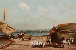 Étienne BILLET peintre tableau paysage marine Marseille Midi France huile bateau