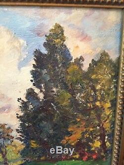 Etienne Philippe Martin (1856-1945) huile sur bois fin XIXe, bord d'eau borely