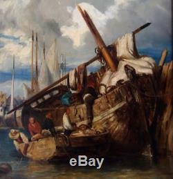Eug. Lepoittevin 1806-1870. Magnifique & Lumineux Marine. Scène De Débarquement