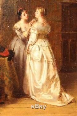 Eugène ACCARD, Le collier offert, tableau, peinture, troubadour, Louis XIII