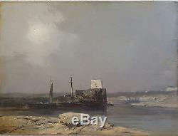 Eugène Ciceri 1813-1890 huile sur bois bateaux à la rivière ecole française