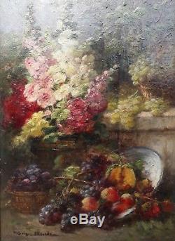 Eugene Claude Francais Nature Morte 19e Huile Fleurs Fruits Peinture Toulouse