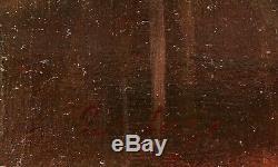 Eugène DESHAYES tableau huile paysage femme Normandie bord rivière chaumières