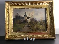Eugène Galien Laloue- Huile sur bois signé Léon Dupuy XIXEME Église Village