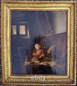 Eugène ISABEY RARE HUILE SUR PANNEAU 1840 JEUNE NOBLE A LA LECTURE +++++++++
