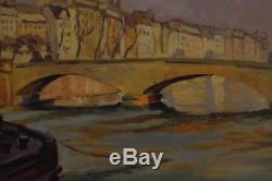 Exceptionnel PEINTURE Impressionniste Huile Sur Bois Vue de la Rivière et QUAI