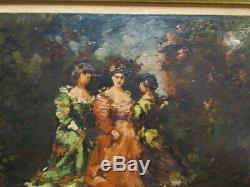 FRANCOIS MAURY 1861-1933 huile sur panneau Demoiselles dans un parc 1909 TBE