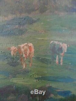 Felix Planquette 1873/1964 Huile Sur Panneau Vache A La Riviere Signe Bas Gauche