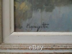Felix Planquette 1873/1964 Huile Sur Panneau Vache Riviere Signe Bas Gauche