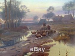 Félix Planquette Tableau 1930 Peinture Troupeau Paysage D'autome En Normandie ++