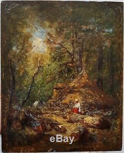 Felix ZIEM FAGOTIÈRE DANS LA FORÊT DE FONTAINEBLEAU RARE HUILE c. 1850 ++++
