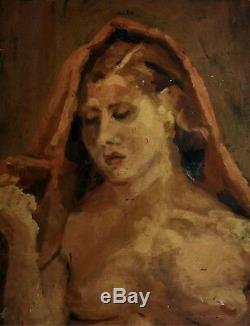 Femme Nue. Peinture À L'huile. Sur Bois. Anonyme. Espagne. Xix-xx
