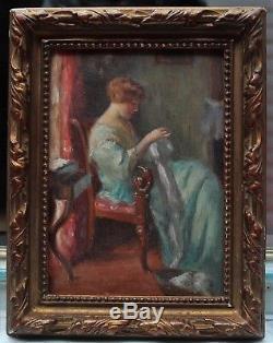 Femme à la couture, Charles Vasnier (1873-1961) né à Caen, Normandie